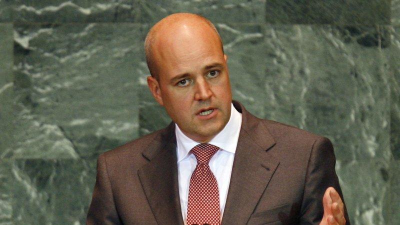 Fredrik Reinfeldt, Prime Minister of Sweden, speaks at the 64th United Nations General Assembly. (File/UPI/John Angelillo)