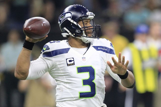Seattle Seahawks quarterback Russell Wilson (3) throws against the New Orleans Saints at the Mercedes-Benz Superdome in New Orleans October 30, 2016. Photo by AJ Sisco/UPI