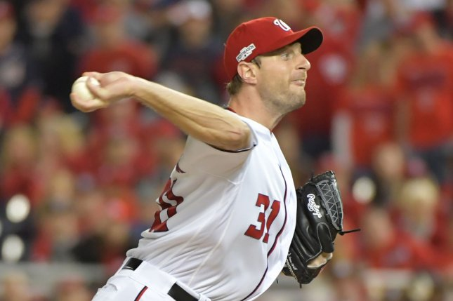 Washington Nationals pitcher Max Scherzer throws during the first inning. File photo by Kevin Dietsch/UPI