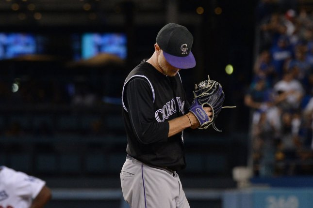 Colorado Rockies starting pitcher Kyle Freeland hangs his head after giving up a hit. File photo by Jim Ruymen/UPI
