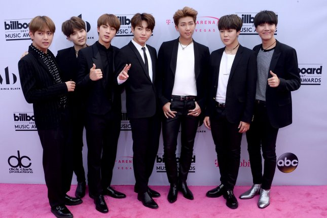 BTS attends the Billboard Music Awards on May 21. The K-pop group topped 73 iTunes charts with its new album this week. File Photo by Jim Ruymen/UPI