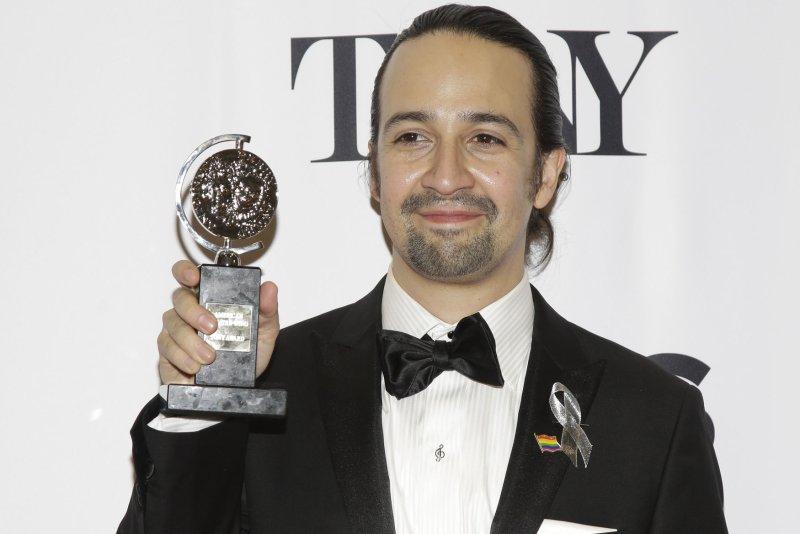 Lin-Manuel Miranda arrives in the press room after winning a Tony Award at the 70th Annual Tony Awards on June 12, 2016. Miranda will voice Gizmoduck in Disney's DuckTales revival. File Photo by John Angelillo/UPI