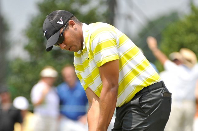 Jhonattan Vegas of Venezuela attempts a birdie putt on the 1st hole during the third round of the 93rd PGA Championship. File photo by Brian Kersey/UPI