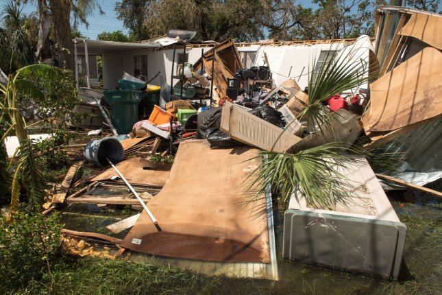 A destroyed trailer sits in Southwind Village Trailer Park on Tuesday after Hurricane Irma slammed into Naples, Fla. Photo by Ken Cedeno/UPI