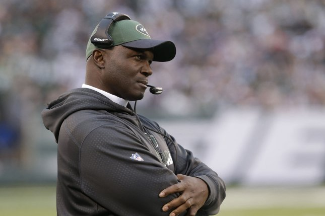 New York Jets head coach Todd Bowles stands on the sidelines in the first half against the New England Patriots on December 27, 2015 at MetLife Stadium in East Rutherford, New Jersey. File photo by John Angelillo/UPI