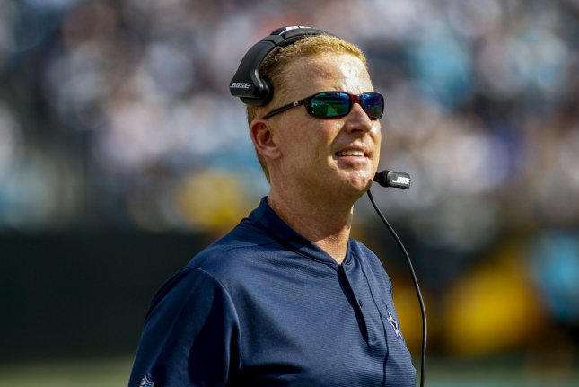 Dallas Cowboys coach Jason Garrett watches from the sidelines during a game against the Carolina Panthers on September 9, 2018. Photo by Nell Redmond/UPI