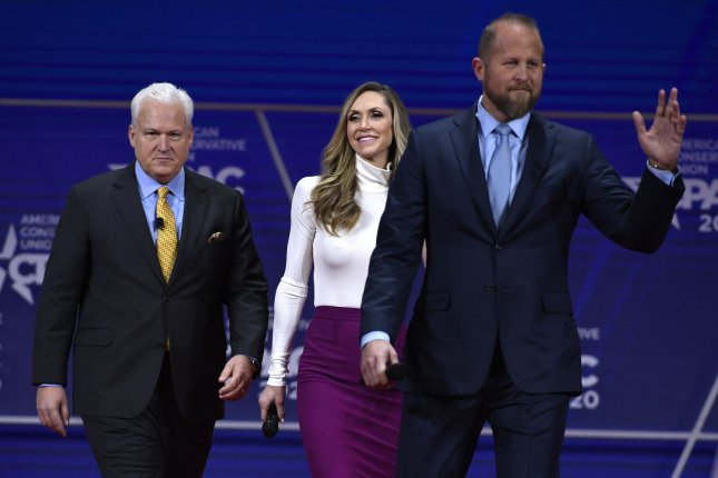 Former Trump campaign manager Brad Parscale, right, is pictured as he arrives for a panel discussion at the Conservative Political Action Conference on February 28 in National Harbor, Md. File Photo by Mike Theiler/UPI