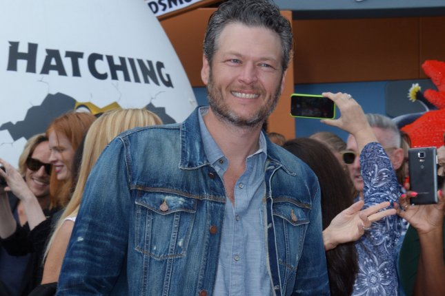 Cast member Blake Shelton, the voice of Earl in the animated comedy The Angry Birds Movie, attends the premiere of the film in Los Angeles on May 7, 2016. The country music star will perform on the People's Choice Awards show Wednesday. File Photo by Jim Ruymen/UPI