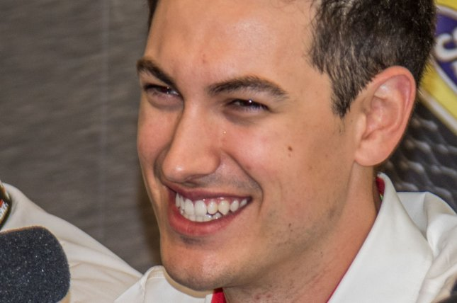 Joey Logano is all smiles at a press conference announcing a new long term deal with Penske Racing on February 24, 2017 in Daytona, Florida. Photo by Edwin Locke/UPI