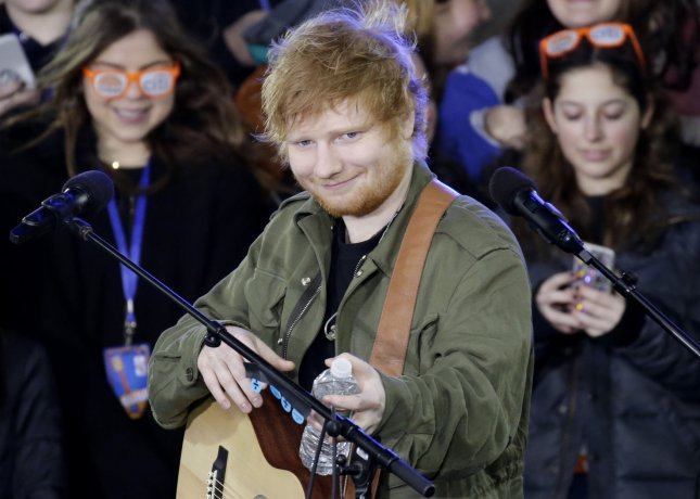 Ed Sheeran performs on NBC's Today at Rockefeller Center in New York City on March 8. The recording artist will be seen in a new Carpool Karaoke segment for The Late Late Show next week. File Photo by John Angelillo/UPI