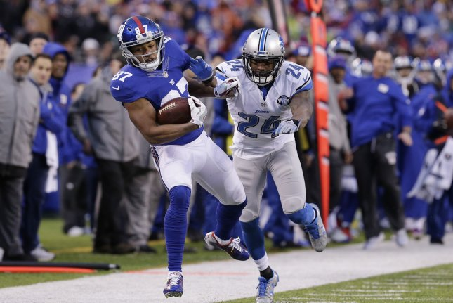 New York Giants wide receiver Sterling Shepard (87) has one year remaining on his current contract, which had a base salary of $1.2 million. His new deal would make him the team's highest-paid receiver. File Photo by John Angelillo/UPI