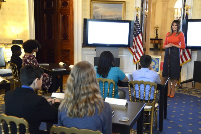 First lady Melania Trump speaks to students at the White House as part of an initiative to help them cope with social struggles, like bullying. File Photo by Mike Theiler/UPI
