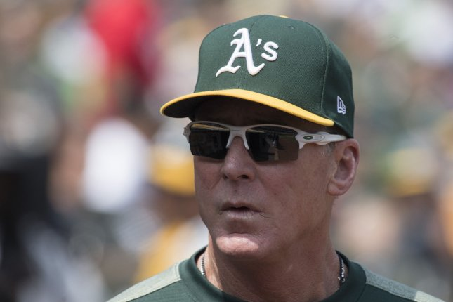 Oakland Athletics manager Bob Melvin (pictured) told reporters the team filed a complaint to Major League Baseball about the 2017 Houston Astros' sign-stealing scandal long before Mike Fiers revealed the scheme in an interview with The Athletic. File Photo by Terry Schmitt/UPI