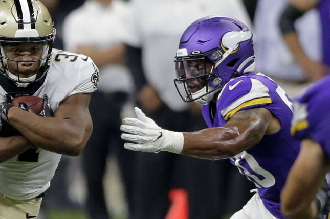 Former Minnesota Vikings linebacker Eric Wilson (50) tied for the league lead among linebackers with three interceptions last season. File Photo by AJ Sisco/UPI