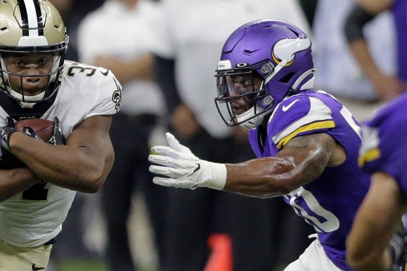 Former Minnesota Vikings linebacker Eric Wilson (50) tied for the league lead among linebackers with three interceptions last season. File Photo by AJ Sisco/UPI