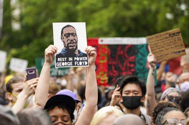 Protesters gather during a memorial service for George Floyd in New York City on June 4, 2020. File Photo by Corey Sipkin/UPI
