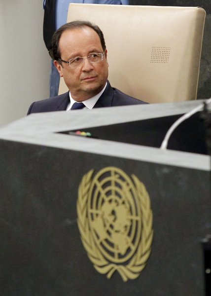 French President Francois Hollande waits to address 68th U.N. General Assembly at the United Nations on Sept. 24, 2013. UPI/John Angelillo