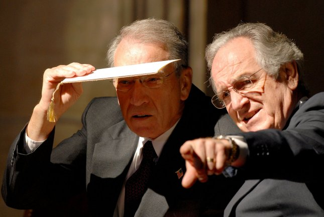 Sen. Tom Harkin (D-IA) (R) points out an audience member to Sen. Charles Grassley (R-IA) at the Congressional Gold Medal ceremony in honor of Dr. Norman E. Borlaug in the U.S. Capitol Rotunda in Washington on July 17, 2007. Dr. Burlaug, a 1970 Nobel Laureate, is being honored for his work in developing a strand of wheat that could exponentially increase yields while resisting disease. The result of this green revolution has been the saving of millions of lives from famine in India, Mexico, the Middle East, and Pakistan. (UPI Photo/Ron Sachs/POOL)