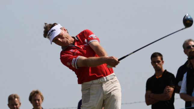 Benhard Langer, shown in a 2011 file photo, owns the lead after the first round of the Senior British Open. UPI/Hugo Philpott