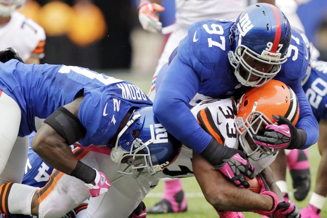 The New York Giants last faced the Cleveland Browns in week 5 of the 2012 NFL season at MetLife Stadium in East Rutherford, New Jersey on October 7, 2012 (pictured). The Giants defeated the Browns 41-27 and Ahmad Bradshaw rushed for 200 total yards on the day. Photo by John Angelillo/UPI