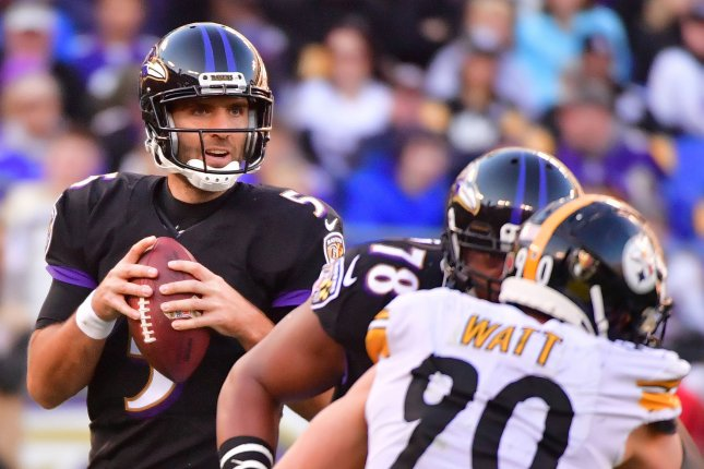 Baltimore Ravens quarterback Joe Flacco (5) looks to pass against the Pittsburgh Steelers in the fourth quarter on November 4, 2018 at M&T Bank Stadium in Baltimore, Maryland. Photo by Kevin Dietsch/UPI