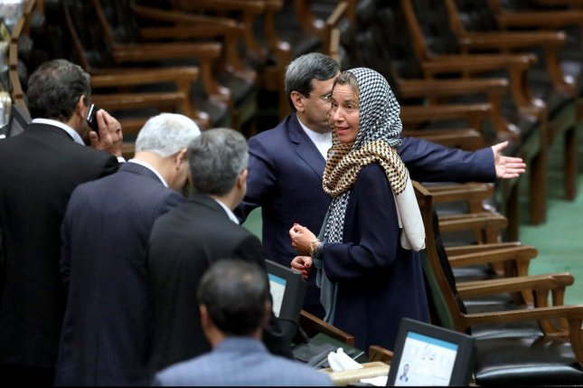 European Union foreign policy chief Federica Mogherini (R) speaks to the members of Iranian parliament during the inauguration ceremony of President Hassan Rouhani in Tehran in 2017. File Photo by Maryam Rahmanian/UPI