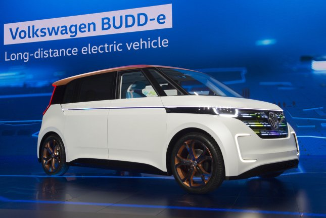 The Volkswagen BUDD-e concept vehicle is introduced in 2016. VW partnered with Ford on electric vehicles and autonomous technology. Photo by Molly Riley/UPI
