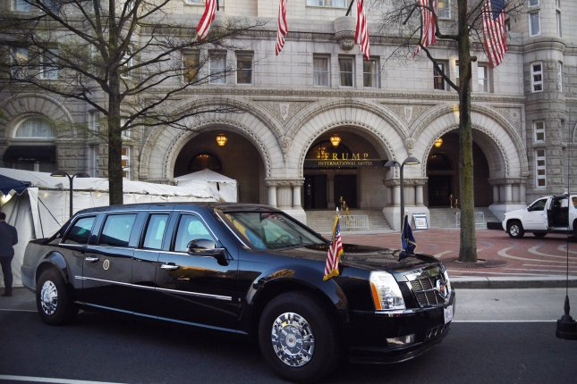 The presidential limousine is seen in front of Trump's Washington, D.C., hotel during a dinner with supporters on April 30, 2018. File Photo by Olivier Douliery/UPI/Pool