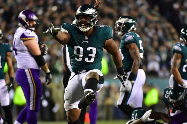 Former Philadelphia Eagles defensive tackle Tim Jernigan was limited to 10 games last season because of a foot injury. File Photo by Kevin Dietsch/UPI
