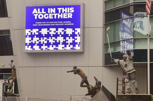 A sign displays gratitude for doctors, nurses and other front-line workers fighting the coronavirus outbreak, at Staples Center in Los Angeles, Calif., on April 12. Photo by Jim Ruymen/UPI