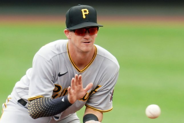 Pittsburgh Pirates infielder Kevin Newman went 1 for 4 in the first game of a doubleheader sweep over the St. Louis Cardinals Thursday in St. Louis. Photo by Bill Greenblatt/UPI