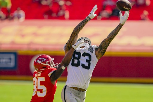 Darren Waller of the Las Vegas Raiders (R) is my top fantasy football tight end for Week 8. File Photo by Kyle Rivas/UPI