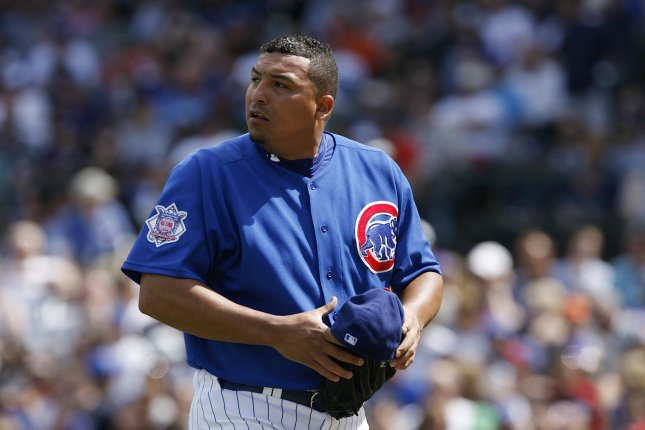 Chicago Cubs pitcher Carlos Zambrano walks off the field after the fifth inning against the Florida Marlins at Wrigley Field in Chicago on May 3, 2009. (UPI Photo/Brian Kersey)