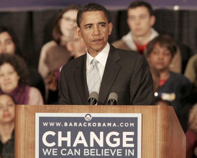 Democratic presidential candidate Sen. Barack Obama (D-IL) addresses the crowd of supporters at a rally at Soldiers and Sailors Military Museum and Memorial in the Oakland section of Pittsburgh on March 28, 2008. (UPI Photo/Stephen Gross)