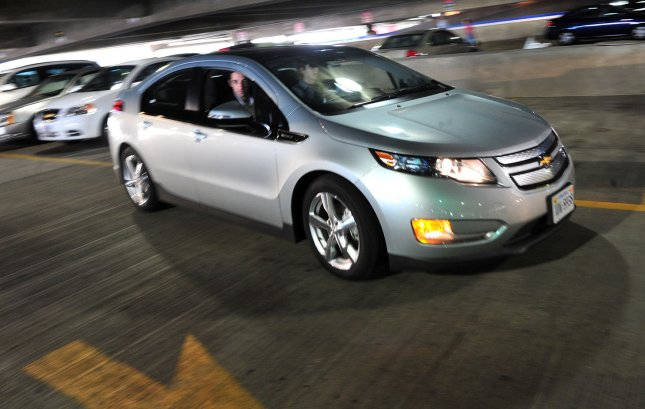 A person test drives a Chevy Volt car at the unveiling of the Connect Program, a new Hertz Rental Car program allowing people to rent electric and plug-in hybrid vehicles, at Union Station in Washington on May 25, 2011. UPI/Kevin Dietsch