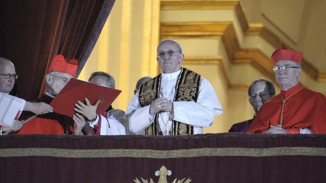 Argentina's Jorge Bergoglio, elected Pope Francis, appears from the window of St Peter's Basilica's balcony after being elected the 266th pope of the Roman Catholic Church on March 13, 2013 at the Vatican. He became the first non-European pope in nearly 1,300 years. UPI/Stefano Spaziani