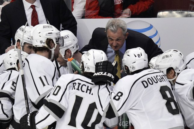 Los Angeles Kings coach Darryl Sutter likened the jumbled Western Conference playoff race to the peloton at the Tour de France, where the main pack of cyclists are lumped together, as the Kings defeated the Coyotes 3-2 for their third straight win. File Photo by Brian Kersey/UPI