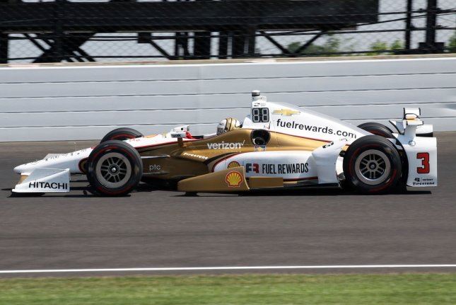 Three time Indy 500 winner Helio Castroneves speeds through the north short chute during Carb Day final practice at the Indianapolis Motor Speedway on May 26, 2017 in Indianapolis, Indiana. Castroneves won the Iowa Corn 300 on Sunday, ending a drought. File photo by Bill Coons/UPI