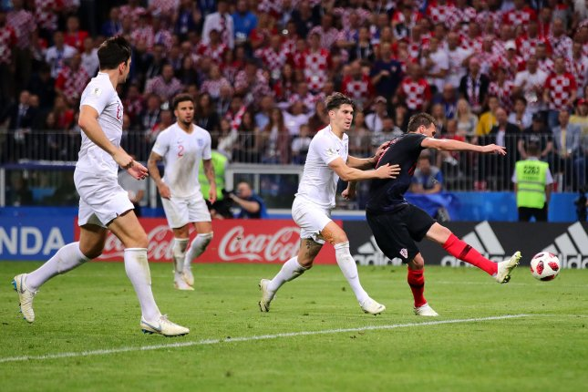 Mario Mandzukic of Croatia scores his side's second and winning goal during the 2018 FIFA World Cup semifinal match Wednesday at Luzhniki Stadium in Moscow. Photo by Chris Brunskill/UPI