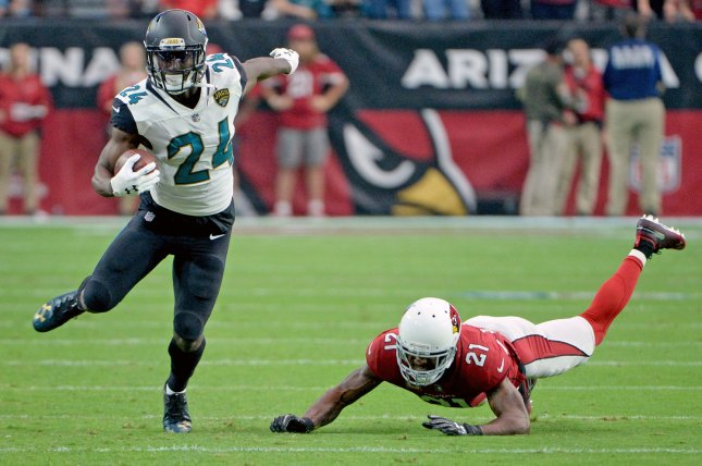 Former Jacksonville Jaguars running back T.J. Yeldon (L) led his team in yards from scrimmage in 2018. He now joins a crowded Buffalo Bills backfield, led by LeSean McCoy. File Photo by Art Foxall/UPI