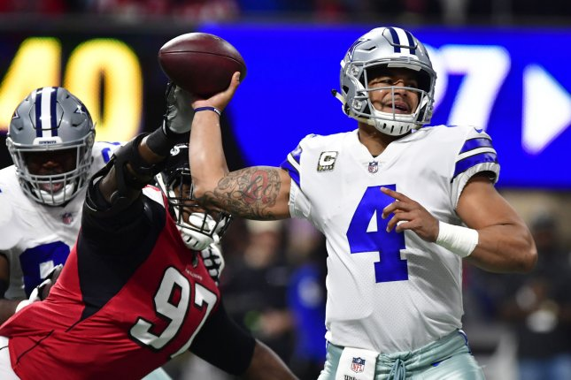 Atlanta Falcons defensive tackle Grady Jarrett (97) signed his $15.2 million franchise tag tender Monday. The two sides have until the July 15 deadline to work out a long-term contract. File Photo by David Tulis/UPI