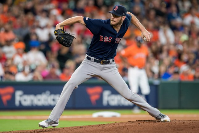 Boston Red Sox starting pitcher Chris Sale was shut down with elbow soreness last August. He posted a 6-11 record and 4.40 ERA in 25 starts last season. File Photo by Trask Smith/UPI