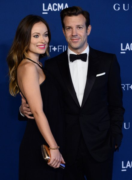 Actor Jason Sudeikis and his fiance, actress Olivia Wilde arrive at the LACMA Art + Film gala in Los Angeles on November 2, 2013. UPI/Jim Ruymen