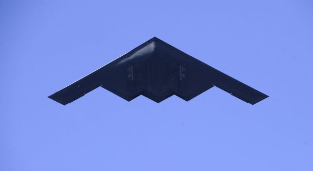 A B2 stealth bomber makes a flyover at the Rose Parade in 2009. File Photo by Phil McCarten/UPI