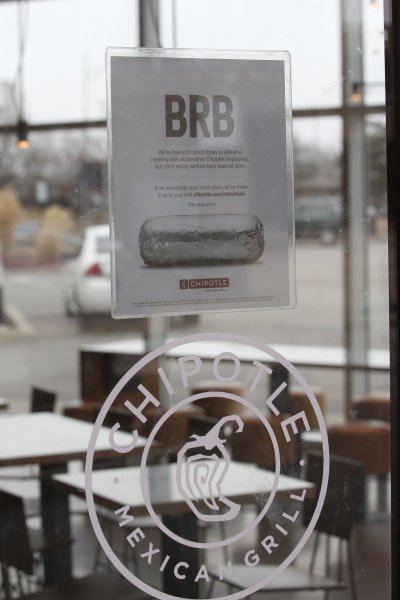 The sign on this empty Chipotle pestaurant in St. Louis says it closed all of its locations for a four-hour food safety meeting, for all 50,000 of its employees on Monday. The company announced new food safeguards to be implemented in response to a series of food safety issues, including an E. coli outbreak that resulted in the closures of several locations in the Pacific Northwest last fall, that the company said will cost up to $10 million. Photo by Bill Greenblatt/UPI