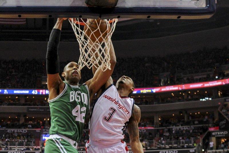 Boston Celtics center Al Horford (42) spent three seasons with the Celtics. File Photo by Mark Goldman/UPI
