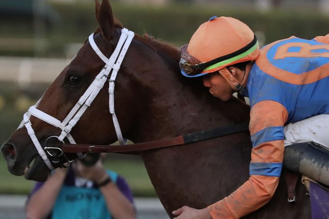 Irad Ortiz Jr. kisses Vino Rosso after winning the Breeders Cup Classic at Santa Anita Park in Arcadia, Calif., on Saturday. Photo by Mark Abraham/UPI