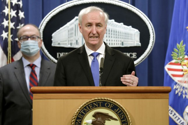 Deputy U.S. Attorney General Jeffrey Rosen announces Wednesday that Purdue Pharma has agreed to plead guilty to criminal charges and pay billions in fines for its role in the opioid crisis, at the Justice Department in Washington, D.C. Photo by Yuri Gripas/UPI/Pool