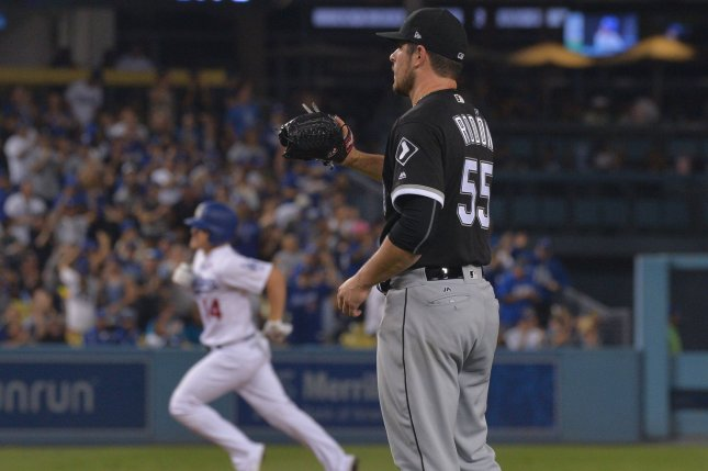 Chicago White Sox starting pitcher Carlos Rodon (55) became the second pitcher of the 2021 season to throw a no-hitter after San Diego Padres right-hander Joe Musgrove did so last week. File Photo by Jim Ruymen/UPI