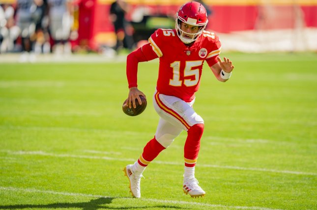 Kansas City Chiefs quarterback Patrick Mahomes, shown Oct. 11, 2020, underwent surgery to address a turf toe injury earlier this off-season. He shed his walking boot last month. File Photo by Kyle Rivas/UPI